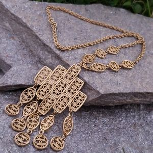 Lrg Vtg Etruscan Revival Gold Pendant Necklace